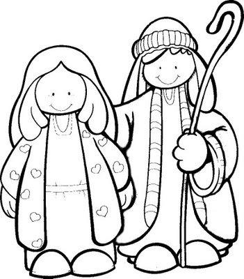 Disegni di Natale: Giuseppe e Maria da colorare