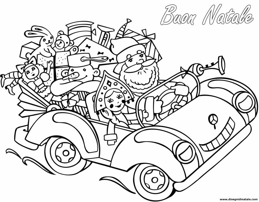 Disegni di Babbo Natale: Babbo Natale in macchina