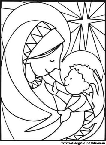 Disegni di Natale: Madonna e Gesu'